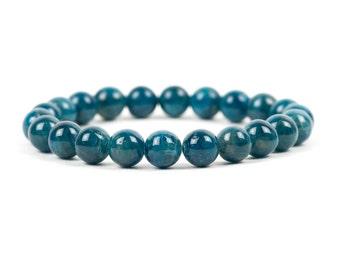 Blue Apatite Bracelet, Natural Dark Blue Beads, Handmade Gemstone Jewelry, Gemstone Bracelet, Handmade Jewelry, Gemstone Jewelry