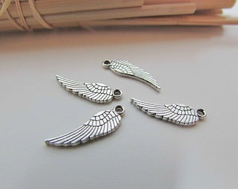 Feather wing 17 charm 20 x 5 mm sterling silver - hole 1.5 mm - 435.22
