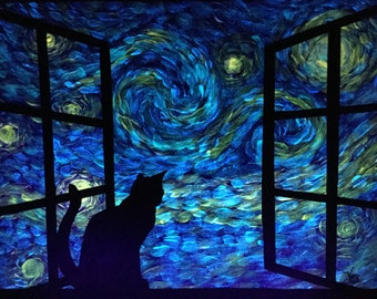 Glow in the Dark Cat painting starry night sky glowing Art Cat in a window cat sillouette wall decor color changing art kitten decor