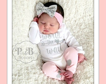 Baby girl Take Home Outfit for Baby Girl, Newborn Outfit  Coming Home Outfit Pink Outfit Photo Prop Outfit, newborn hat for coming home