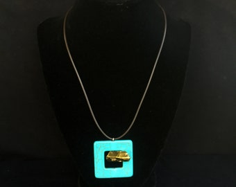 Howlite, Quartz Crystal, & Leather Necklace