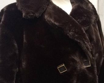 Plush faux fur vegan coat 1960s