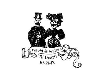 Dia de Los Muertos Til Death Hochzeitstag der toten Braut und Bräutigam benutzerdefinierte Stempel Halloween