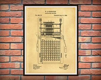 Patent 1888 Burroughs Calculator - Art Print - Poster - Wall Art - Adding Machine - Cash Register - Technology Lab Statistics - Calculating