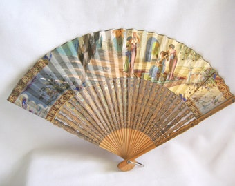 Now on Sale VICTORIAN Hand Painted PAPER FAN with Box Figural Attending Maiden Court Scene Peacock Feather Trim and Sequins