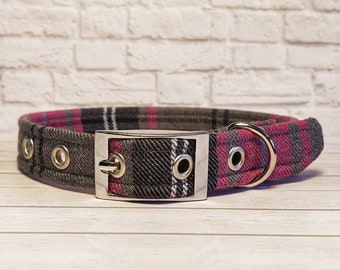 Dog collar, Pink Tartan, tartan, female, pink dog collar, pink collar, metal buckle collar, plastic buckle collar, adjustable dog collar