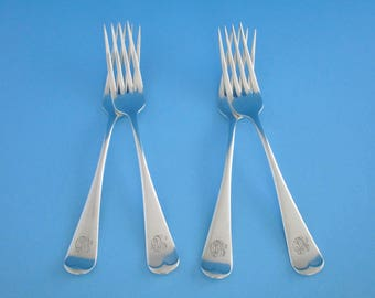 Set of 4, Birks Canada Old English Sterling Silver Dinner Forks