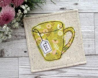 Tea Coaster, Fabric Coaster, Mustard Table Decor, Applique Gift, Floral Decor, Gift For Her, Drink Coaster, Small Gift Idea, Mug Rug