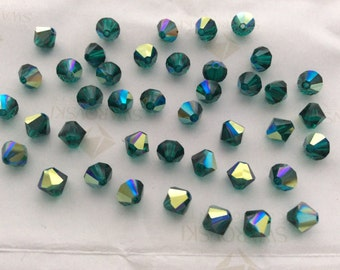 Swarovski #5301 Crystal Emerald AB Bicone Faceted Beads 4mm 6mm