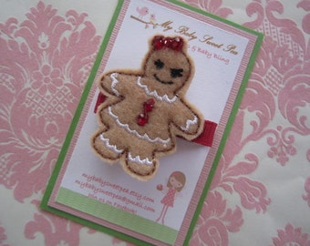 Girl hair clips - girl barrettes - gingerbread girl - Christmas hair clips