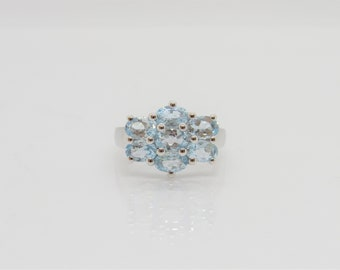 Vintage Sterling Silver 3.57Ct Natural Aquamarine Cluster Ring Size 7