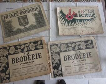 "Vintage Embroidery Magazines(1948/50)set of 4""Broderie Lyonnaise""France Broderie,trousseaux, patterns,lingerie,alphabets,monograms,napkins"