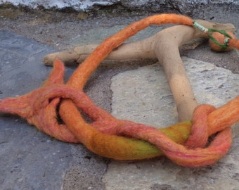 """Unique felted necklace  """" Coral """"  OOAK jewellery. Art to wear"""