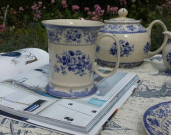 Blue transferware mug, jug or coffeecup