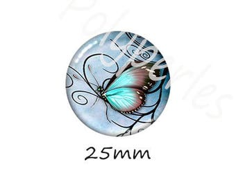 1 cabochon 25mm glass Dragonfly blue