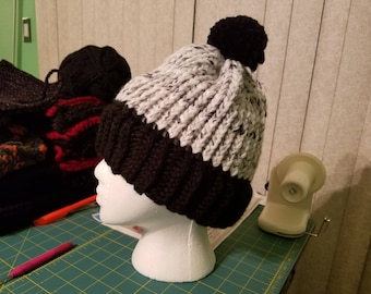 Black and White Knit Cap