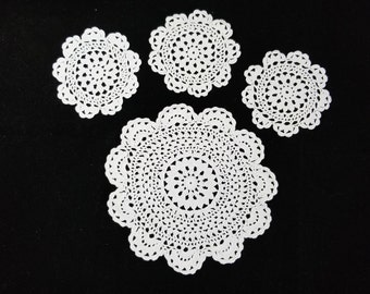 Set of 4 coasters, doilies, 1 for pitcher, 3 for glasses. White cotton