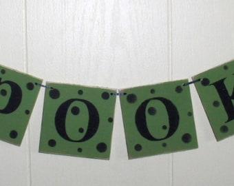 Spooky Banner Halloween Bright Green Wood Garland Holiday Decoration 4 x 4 Tiles Custom