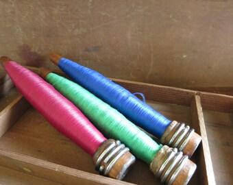 Vintage Wood Bobbins  Wooden Spools Textile Mill Vintage Gift for Seamstress Jewel Tone Thread