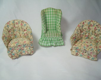 Three Vintage The Little Mouse Factory Upholstered Chairs.