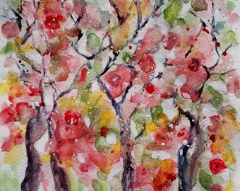 Original watercolor painting trees and flowers