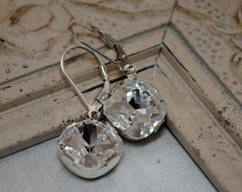Wedding Earrings, Swarovski Crystal Square Cushion Earrings, Crystal Drop Earrings, Crystal Bridal Earrings, Sterling Silver, Bridal Jewelry