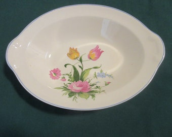 Pretty 1940's Rose & Tulips Floral China Serving Bowl