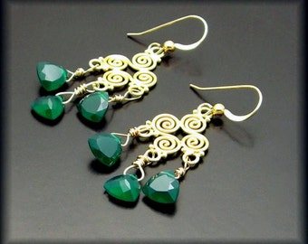 EMERALD EYES ~ Emerald Green Chalcedony, 14kt Gold Fill Earrings