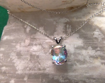 """10x8mm Tropic Topaz & Sterling Silver 18"""" Necklace"""