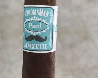 16 Wedding Cigar Bands - Grooms Gift - Wedding Party and Groomsman Cigar Bands - Mustache - Wedding Reception Cigar Bar - Cigar Station