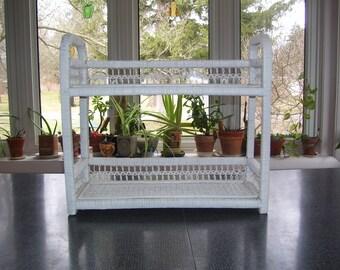 Wicker Shelf  White Wicker Shelf Hanging or Standing Vintage