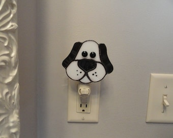 Stained Glass Puppy Dog Night Light