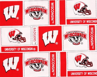 """University of Wisconsin Badgers Fabric by the Half Yard 45cm by 108cm or 18"""" by 43"""""""