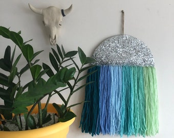 Blue Ombre Silver Glitter Tapestry