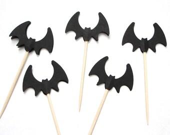 24 Halloween Black Bat Party Picks, Toothpicks, Cupcake Toppers, Food Picks - No763