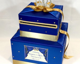 Royal Themed Card Box -Royal Blue and Gold