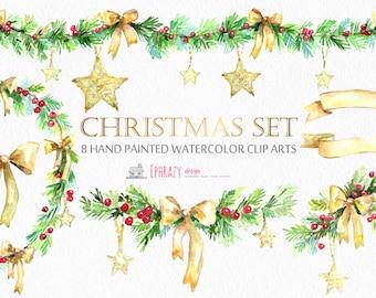 Christmas clipart. Christmas clip art. Christmas. Holiday clipart. Watercolor Christmas. Christmas wreath. Wreath clipart. Bow