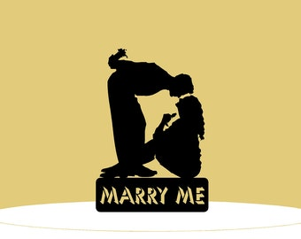 Will You Marry Me Cake Topper - Man Bending Over Girl with Gift Behind Back