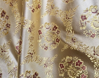Nadia GOLD Floral Brocade Chinese Satin Fabric by the Yard - 10094