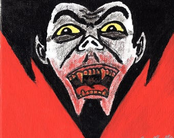 Dracula 6 x 6 Acrylic Painting