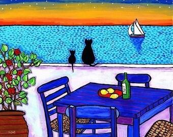 Greek Sunset  Cats Shelagh Duffett print