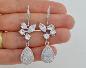 Bridal Cubic Zirconia Crystal Earrings, Silver Ear Wire Drop Earrings, Wedding Jewelry, Ester - Ships in 1-3 Business Days
