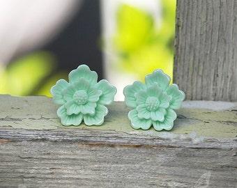 Sakura Earrings, Mint Flower Studs, Spring Boho Carved Look Blossoms - Stainless Steel or Titanium Posts