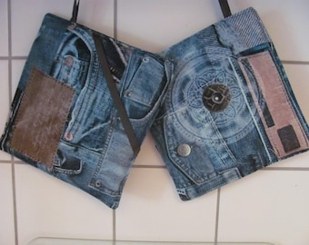 Pot-cloth in jeans look with hand pocket, 20 x 20 cm