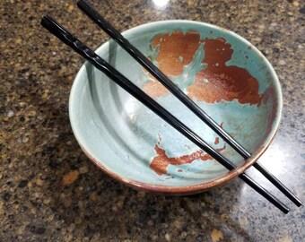 2 Ceramic handmade Noodle/ Rice Chopstick bowls