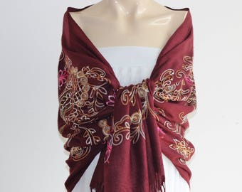 infinity Scarf-Burgundy Pashmina -Silk Embroidered India Pashmina-Shawl