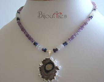 Agate Slice Solar Quartz pendant, Genuine Amethyst, Moonstone, Sterling silver, beaded necklace. One of kind jewelry