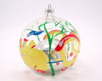 Vintage Italian Christmas Ornament Glass Handpainted Train Reflecting Christmas Decoration Bauble
