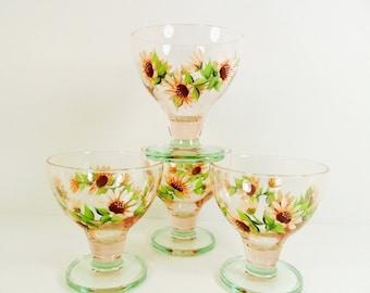 Dessert Bowls Hand Painted Ice Cream Bowls Orange Sherbet Daisy Flower Designs - Set of 4