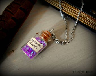 Glass potion vial Necklace: powder mermaids - dark silver colored metal chain